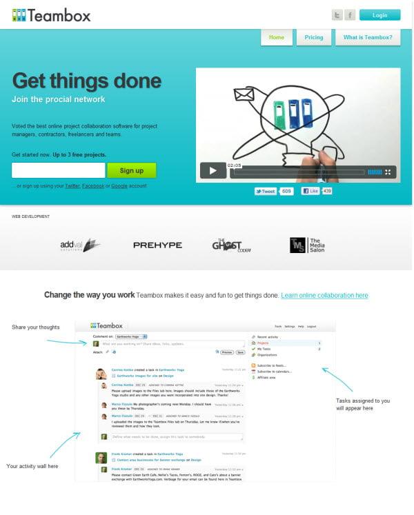 teambox για online Διαχείριση Projects & Συνεργασία