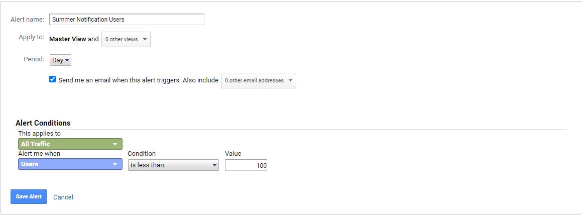 Ενεργοποίηση Analytics Custom Alerts