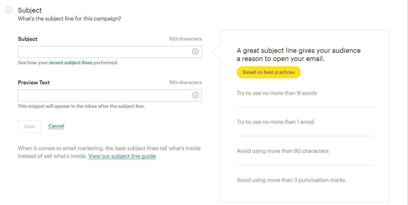 Συγγραφή θέματος email στο mailchimp