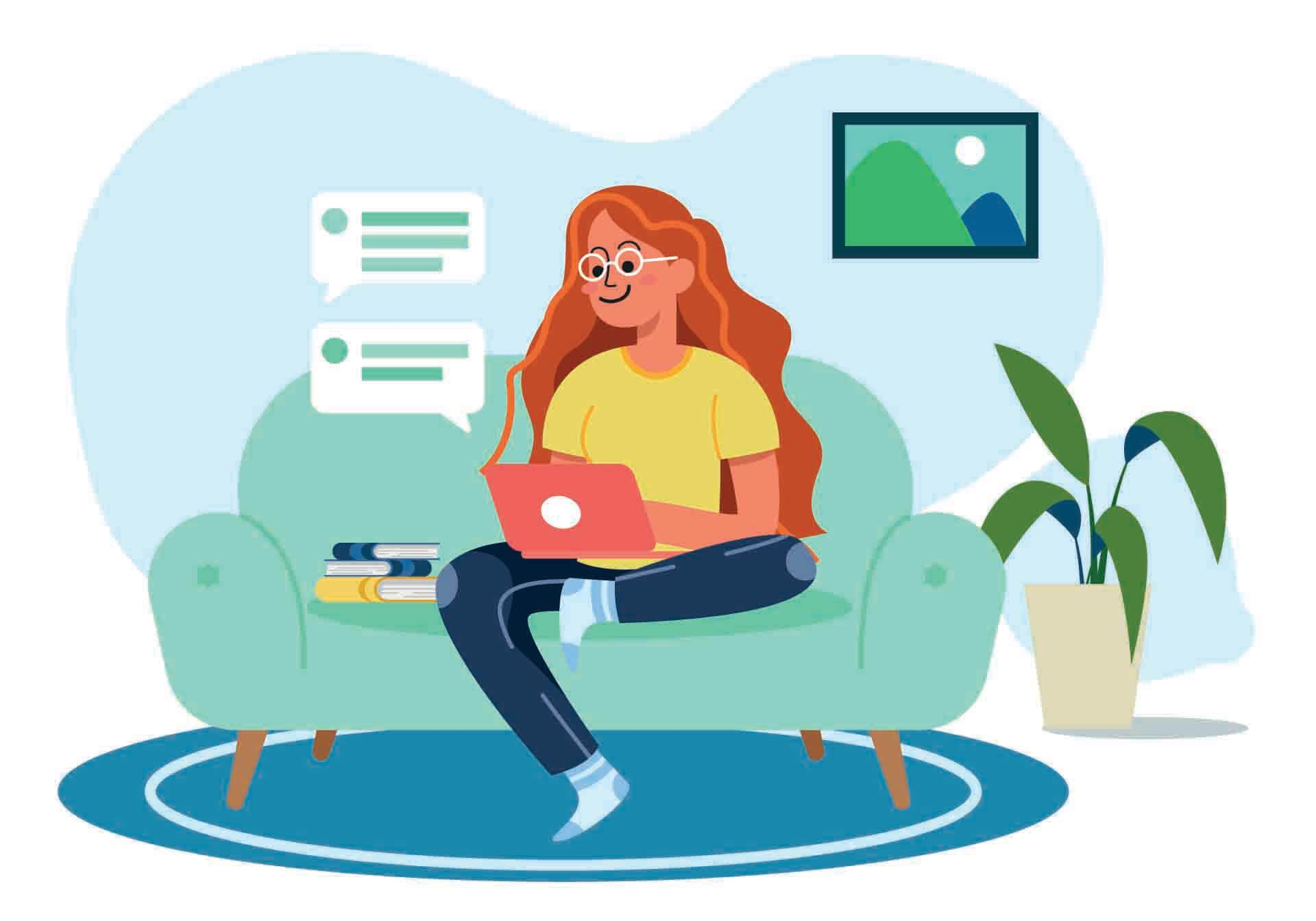Γυναίκα εργάζεται μέσω τηλεδιάσκεψης